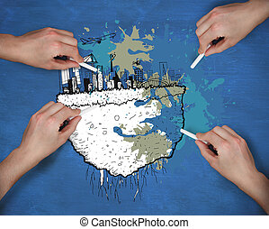 Composite image of multiple hands drawing cityscape with chalk