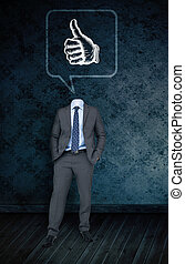 Composite image of headless businessman with thumbs in...