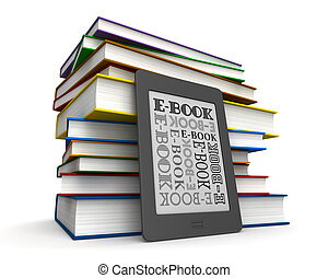 Books and e-book - 3d render of reader of books and...