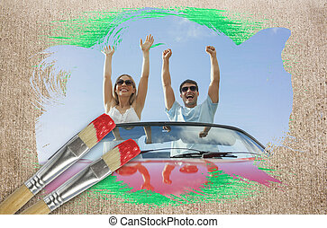 Composite image of couple cheering in convertible with...