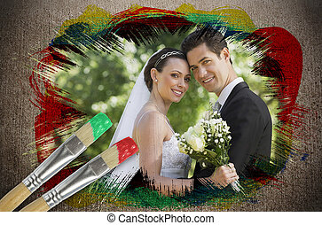 Composite image of newlyweds smiling at camera with...