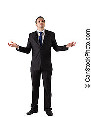 Businessman standing with arms out on white background