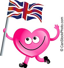 uk love - Mr heart flying the Union Jack flag of the United...
