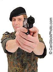 soldier aiming with gun isolated on a white background