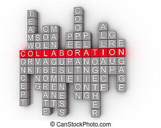 colaboração, conceito, palavra, nuvem,  3D