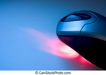 Computer Mouse - Wireless mouse with red laser in a tech...