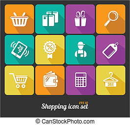 Vector Shopping icons flat