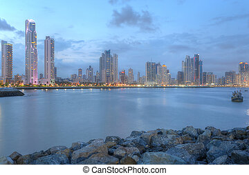 Panama City center skyline and Bay of Panama, Panama, Central America in the sunset
