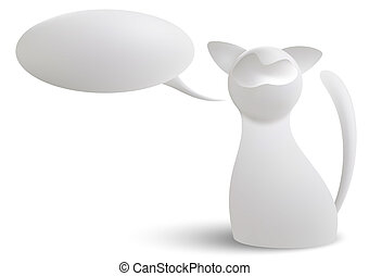 White cat - 3d vector white cat and a cloud of thoughts...