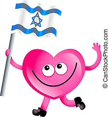 israel love - Mr heart flying the flag of Israel isolated on...