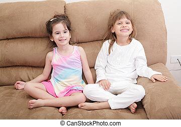 Sofa, mädels, zwei, Porträt