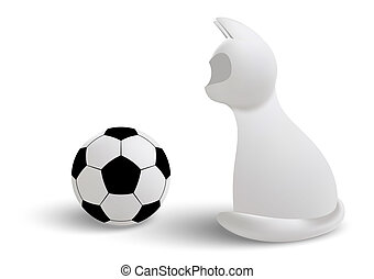 White cat - 3d vector cat with a ball isolated on white...