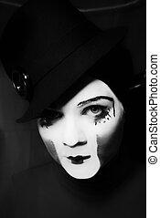 portrait, triste, mime, chapeau