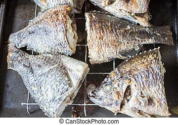 fresco, tilapia, cocido al horno, horno