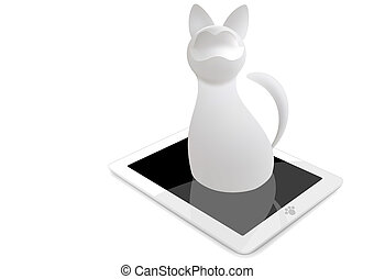 White cat - 3d vector cat with tablet ps isolated on white...