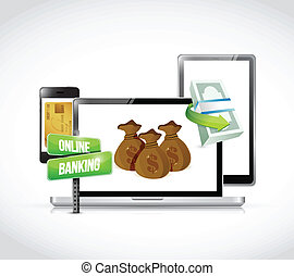 online banking technology business concept illustration...