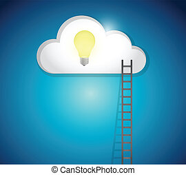 ladder to great ideas concept illustration design over a...