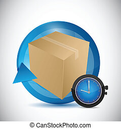 shipping time business icon illustration design over a white...