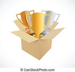 trophy box illustration design