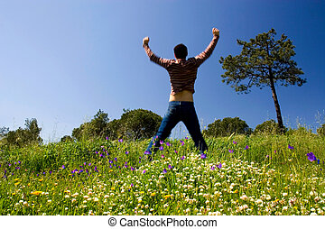 Success business achievement - Happy jump to successful...