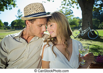 Cute couple drinking white wine on a picnic smiling at each...