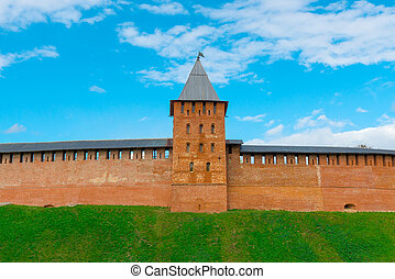 tower and wall of Novgorod Kremlins redbrick