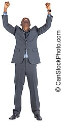 Happy businessman cheering on white background