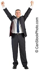 Mature businessman cheering with arms up on white background