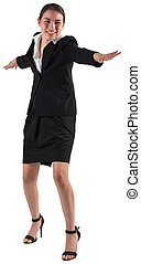 Businesswoman standing with arms out on white background