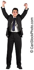 Businessman cheering at the camera on white background