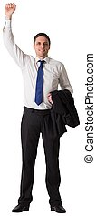 Businessman cheering with hand raised on white background