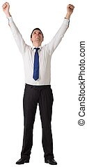 Businessman cheering with hands raised on white background