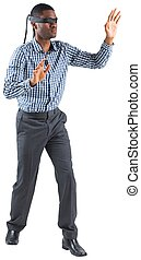 Blindfolded businessman with arms out on white background