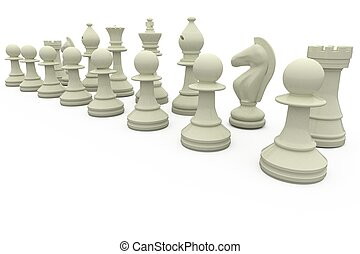 White chess pieces in a row on white background