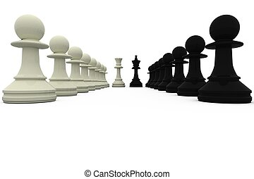 Black and white king standing with pawns