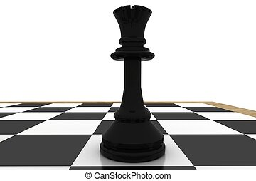 Black queen on chess board on white background
