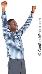 Excited businessman cheering on white background