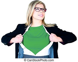 Businesswoman opening shirt in superhero style on white...
