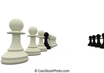 Black pawn spy standing with white pieces