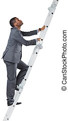 Businessman climbing up ladder on white background