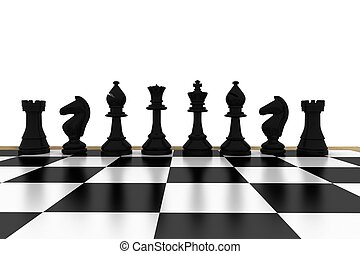 Black chess pieces on board on white background