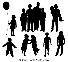 Children silhouettes on isolated white background EPS file...