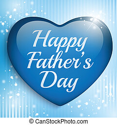 Happy Fathers Day Blue Heart Background - Vector - Happy...