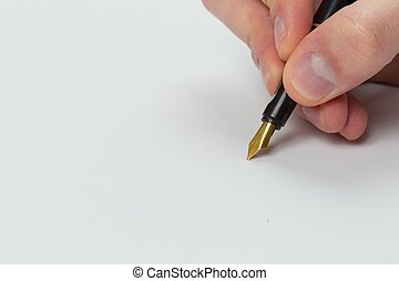 Hand writing with fountain pen