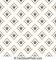 Seamless animal pattern of paw footprint and dot
