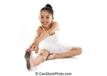 young cute ballet dancer on white background - young cute...