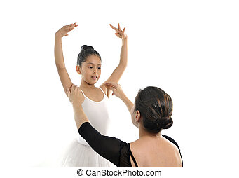 young little girl ballerina learning dance lesson with...
