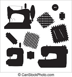 Sewing machines kit black silhouette vector