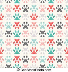 Animal seamless vector pattern of paw footprint