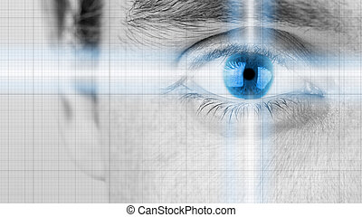 Male eye with radiating light and blue iris - Greyscale...